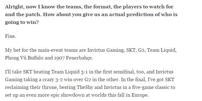 ESPN刊文预测MSI:SKT捧杯,FW入围赛出局